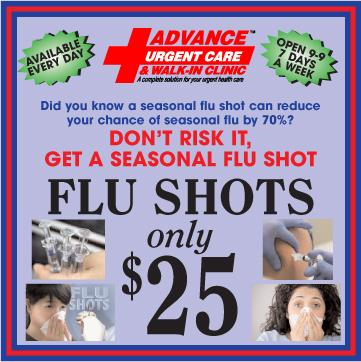 Advance Urgent Care Flu Shots Special Offer
