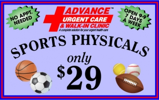 Advance Urgent Care School sports physicals